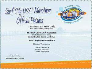 Surf City Certificate
